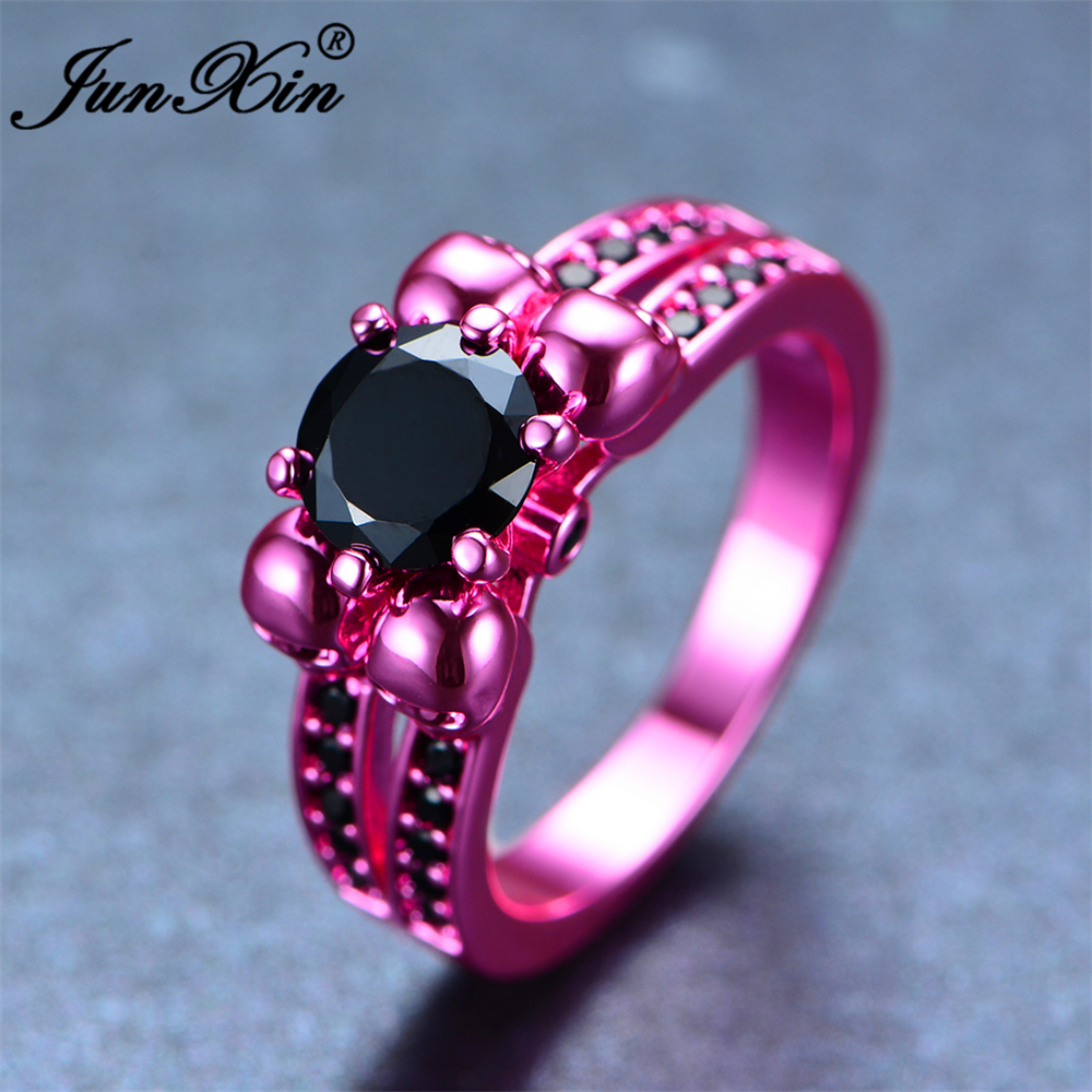 Junxin Retro Male Female Black Skull Ring Fashion Pink Gold Filled Jewelry  High Quality Vintage Wedding Rings For Men And Women