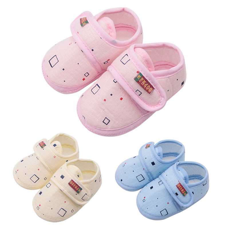 Baby Shoes Solid Cotton New Born Baby Girl Shoes Toddler First Walkers For 0-18 Month Baby Moccasins Sneaker Crib Shoes