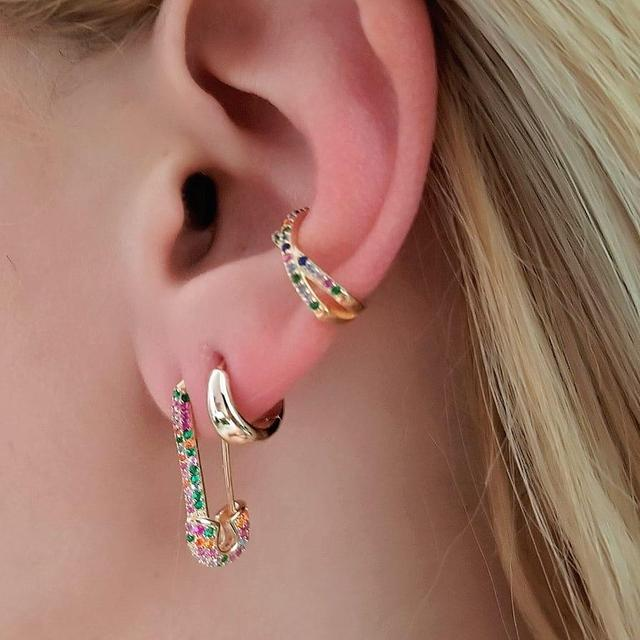 c067af8840eb4 US $7.89 8% OFF|rainbow cz safety pin earring 2019 new design jewelry for  women lady gift Gold filled colorful multi piercing earring-in Stud  Earrings ...