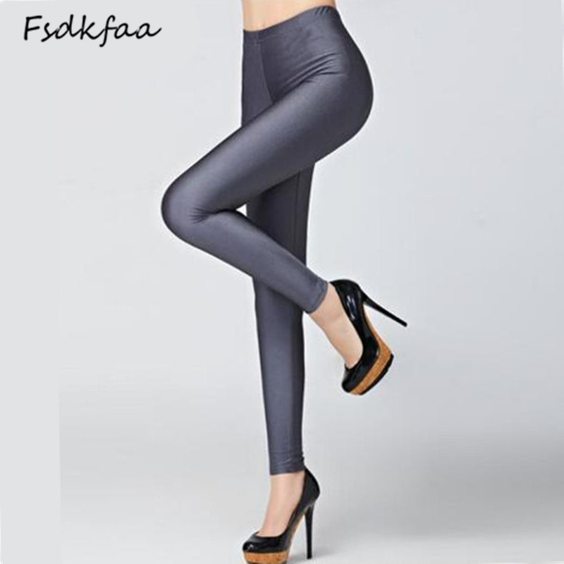 Hot Selling 2018 Women Solid Color Fluorescent Shiny Pant Leggings Large Size Spandex Shinny Elasticity Casual Trousers For Girl