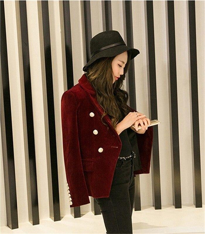 2016 New Spring Fashion Women Midnight Navy Slim Velvet Blazer Jacket Double Breasted simple Lady Blazers  (20)