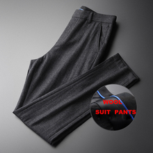 Minglu Autumn Winter Suit Pants Hight Quality Wool Blended Business Straight Slim Fit