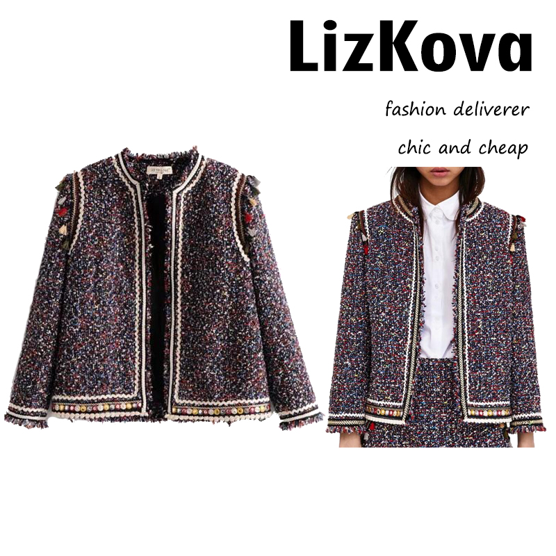 2018 Spring Women Tweed   Jacket   Indie Folk Style Open Stitch Tassel   Basic     Jacket   Sequined Three Quarter Sleeve Frayed Coat