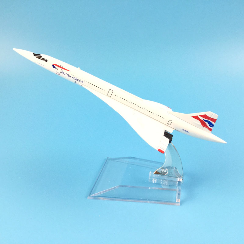 FREE SHIPPING 16cm Alloy Metal Model Plane BRITISH AIRWAYS CONCORDE Model W Stand Aircraft Toy Birthday Gift