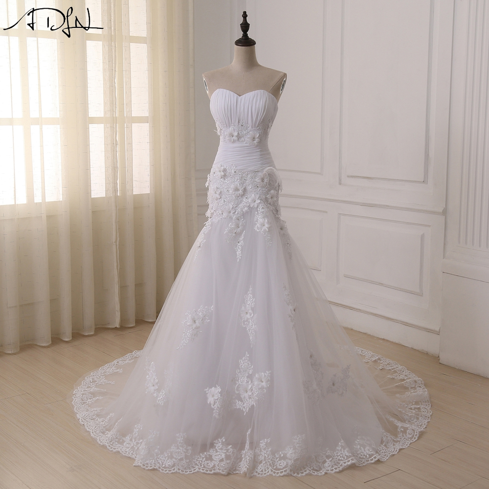 Adln custom made luxurious lace mermaid wedding dress 2017 for Wedding dresses with corset top