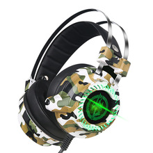 Smart Game headphones Professional E-sport headset LED luminescence camouflage color stereo noise reduction wired control HD MIC