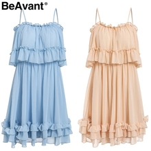 Off shoulder strap chiffon summer dresses