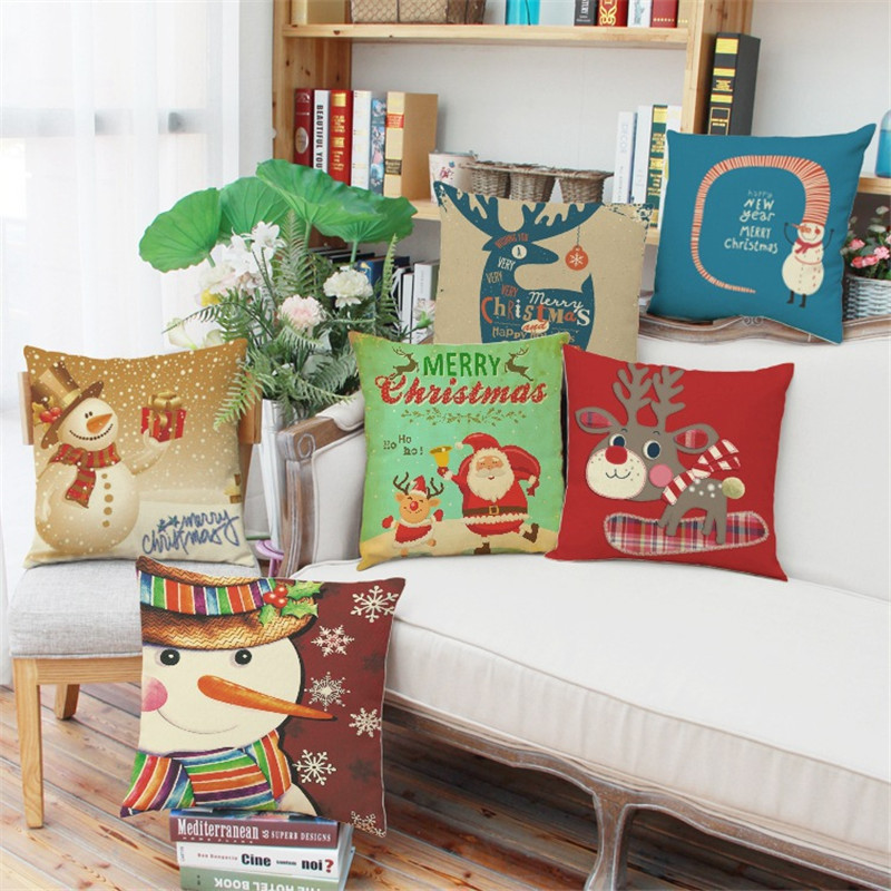 Christmas Cushion Cover Home Decoration Decorative Pillows For Sofa  Creative Gift /almofadas Para Sofa(