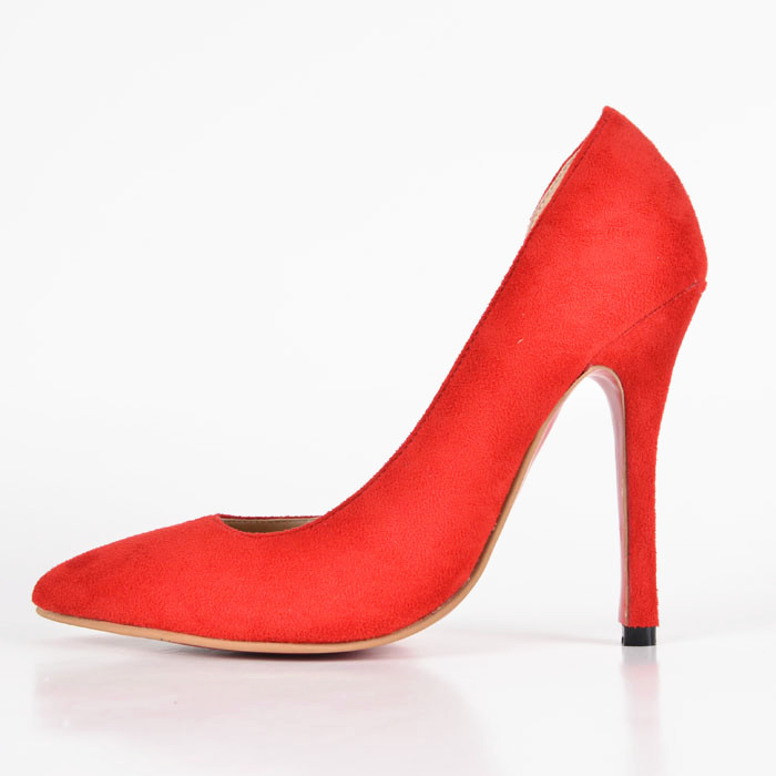 ФОТО Red OL Women Pump Heels Pointed Close Toe Woman Thin High Heels Shoes Slip-on Solid Fashion Cut-out Suede Summer New Pumps