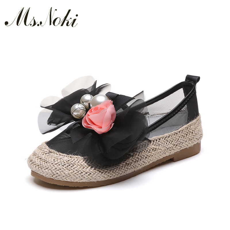 Pearl Girl Sandals Summer Flip Flops Womens Crystal Sandals Women Shoes Flat Shoes Gladiator flower Driving Shoe Ms.Noki Slip-on
