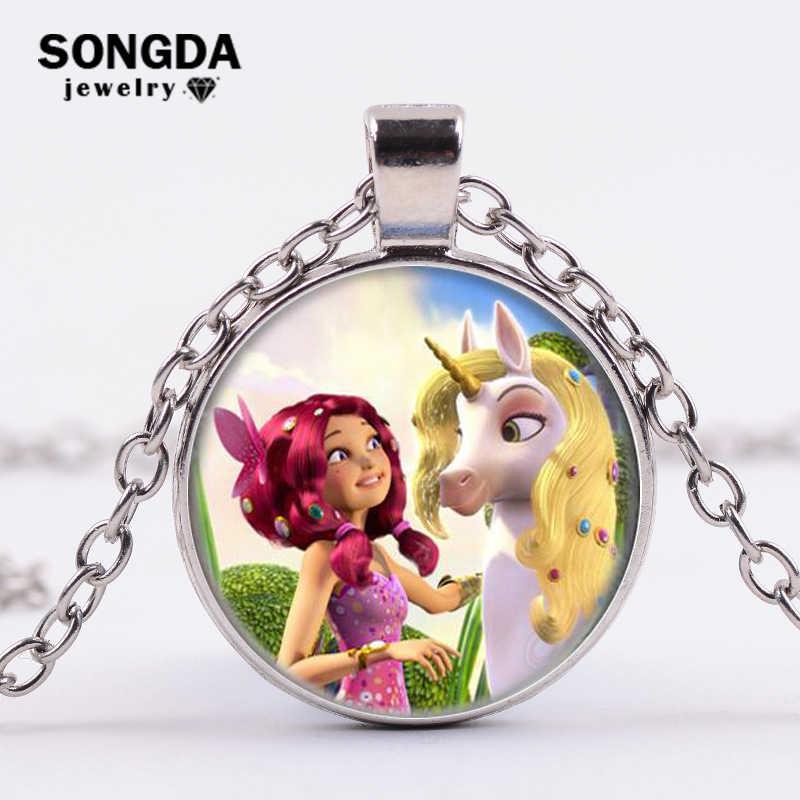 SONGDA năm 2018 MỚI Mia Thiên Thần Cầu Vồng Ngựa Kính Thời Gian Đá Quý Mặt Dây Chuyền Cosplay Cổ Gửi Cô Gái Nhỏ Trẻ Em Quà Tặng Nàng Tiên bộ trang sức