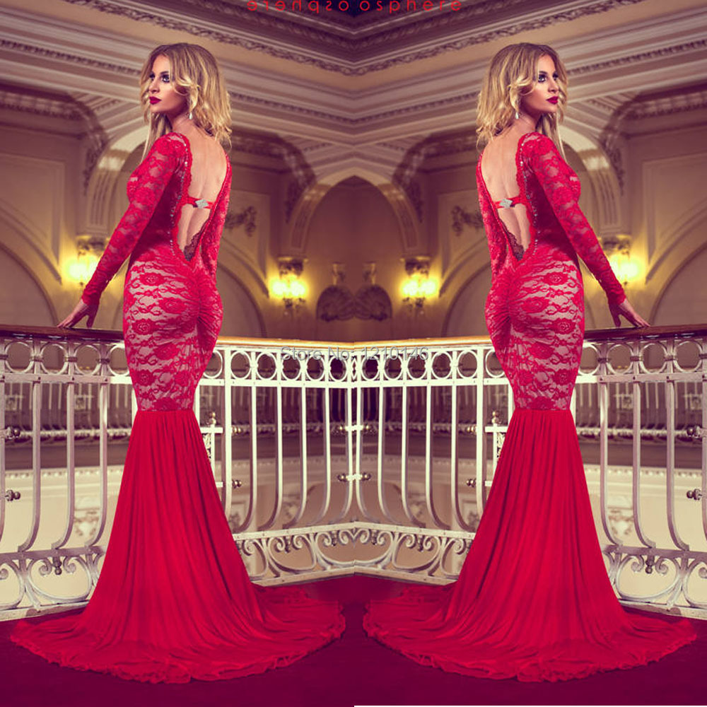 7d1eeba4bc9 2015 Sexy Long Sleeve Backless Red Mermaid Lace Prom Dress-in Prom Dresses  from Weddings   Events on Aliexpress.com