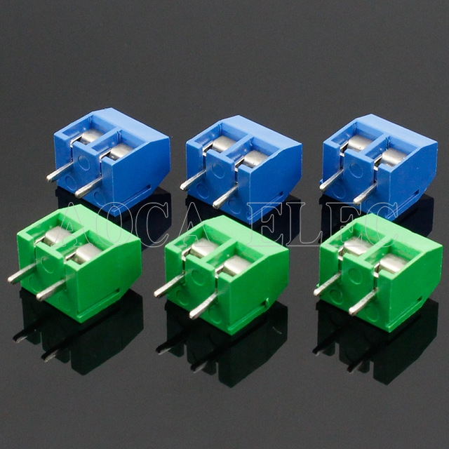 20PCS/LOT KF301-2P KF301-5.0-2P KF301 Screw 2Pin 5.0mm Straight Pin PCB Screw Terminal Block Connector Blue and green
