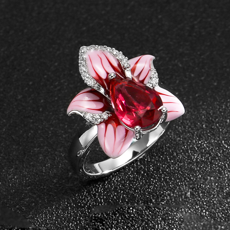 Pink and red zircon flower For Women Authentic 925 Sterling Silver charms Fashion Rings Party Jewelry Enamel flower jewelry set pink rose jewelry enamel rings earrings pendant 925 sterling silver party fashion for women accessories