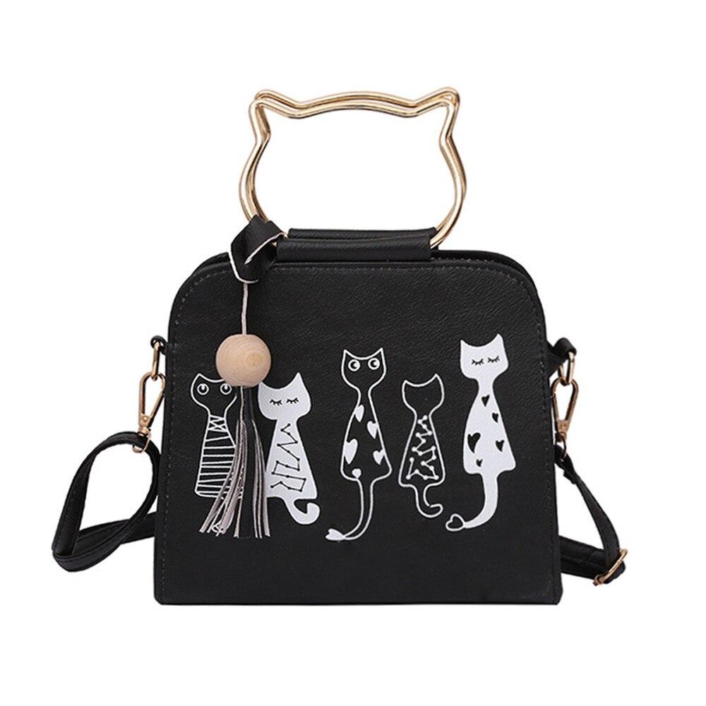 Voberry Animal Messenger Bag Women Handbags Cat Rabbit Pattern Shoulder Crossbody Bag