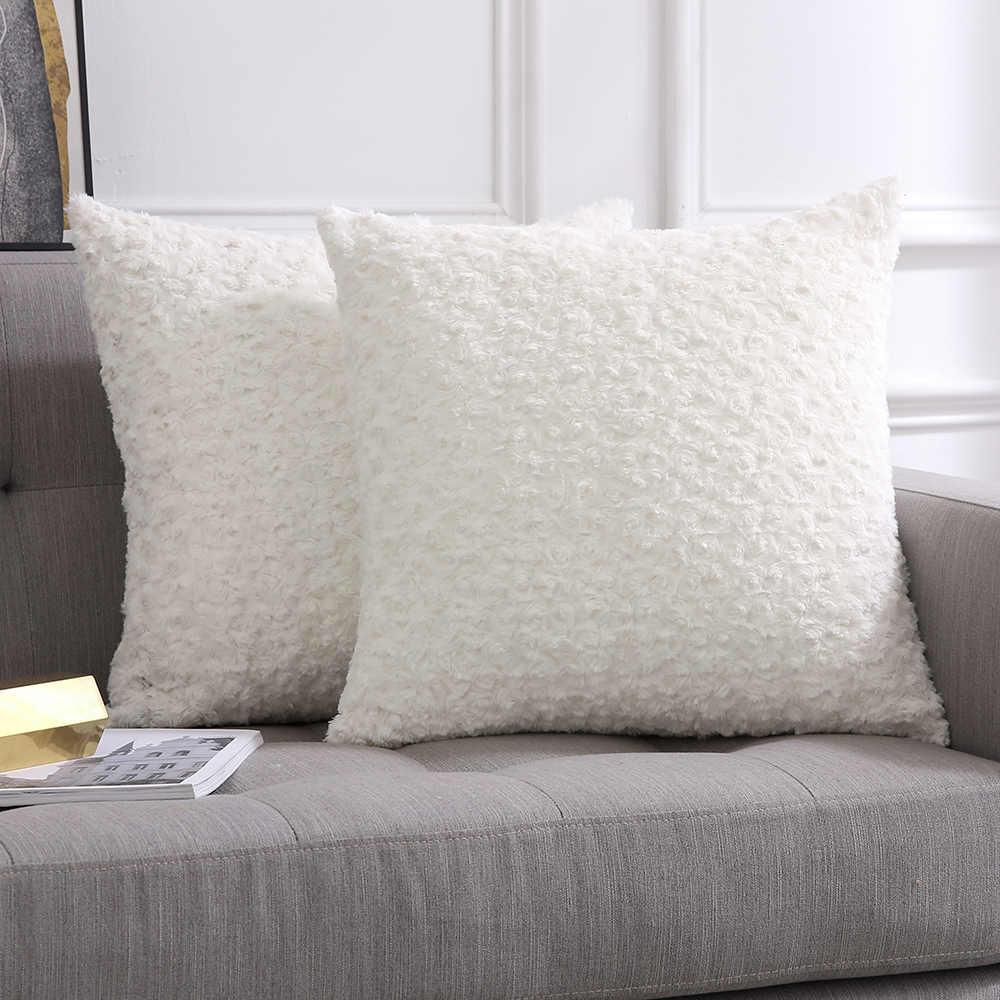 装飾的なスロー枕カバー高級フェイクファジー毛皮ソフトクッション枕ケースインテリアローズピンクケース用ソファ寝室車