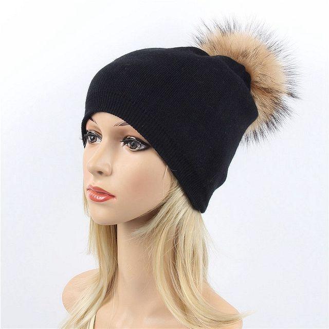 fe5ff94bb61 Women Real Fur Pom Pom Hat Female Winter Wool Autumn Knitted Beanies Fur  Ball Cap Ladies