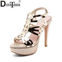 DoraTasia 2018 nagy méret 33-43 márkás cipő Női hátszíj női cipő vékony magas sarkú cipő női cipő szandál cipő