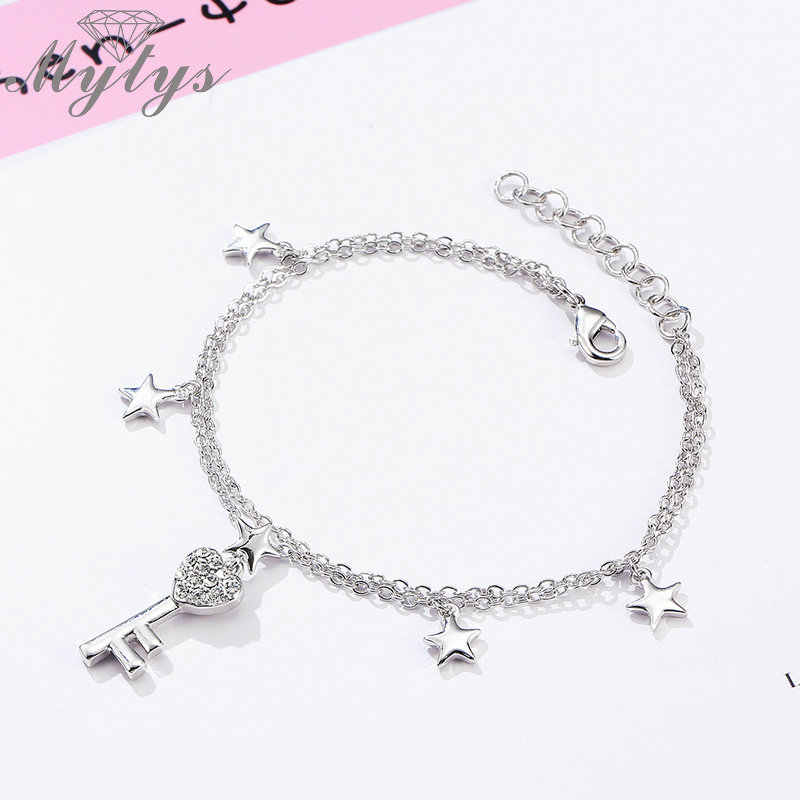 Mytys Double Chain Stars and Key Charm Bracelet For Girls and Women Charming Elegant Small Bracelet Party Jewelry B1090
