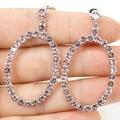 Long Pink Kunzite SheCrown Woman's Created   Silver Earrings 45x24mm