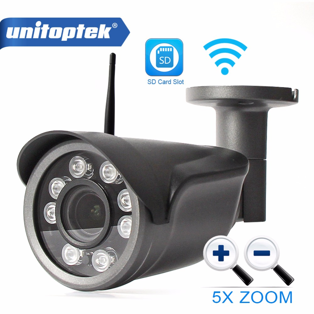 Unitoptek 960P 1080P Wifi IP Camera Outdoor CCTV Surveillance Bullet Camera Wireless 5X Optical Zoom TF Card Slot P2P CamHi View аксессуары для видеонаблюдения unitoptek cctv hikvision cab 08