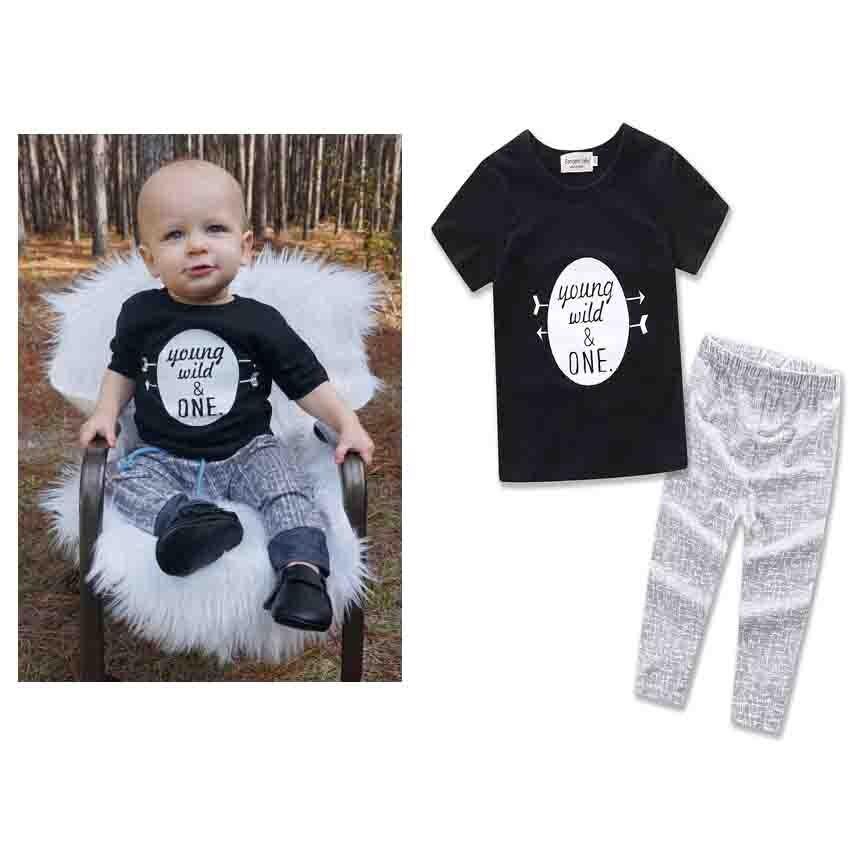 יילוד תינוק בגדי פראי צעיר חולצות ארוך מכנסיים בגדים פעוט תינוק קיץ תינוק סט 2 יח'\סט 0-24 m בגדי תינוקות