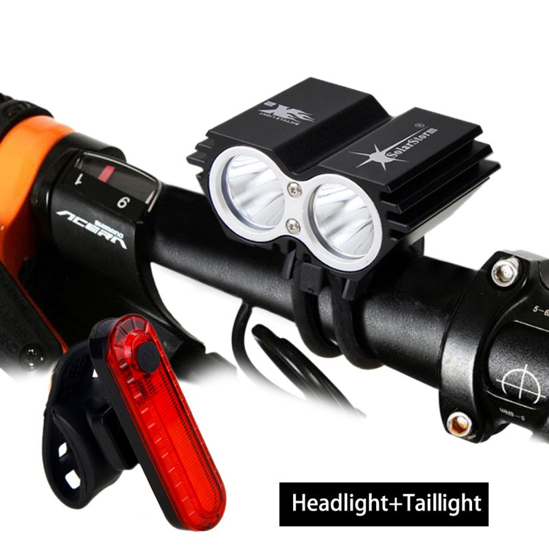 SolarStorm MTB 1000 Lm 2 LED Lamp Beads Front Cycling Bike Light Headlight Lamp Bicycle Light