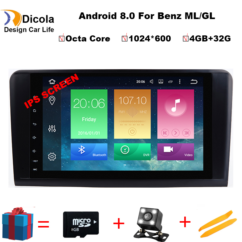 Octa Core 9''Car Android 8.0 Car DVD Player GPS Per Mercedes Benz ML W164 W300 ML350 ML450 ML500 GL X164 g320 GL350 GL450 GL500