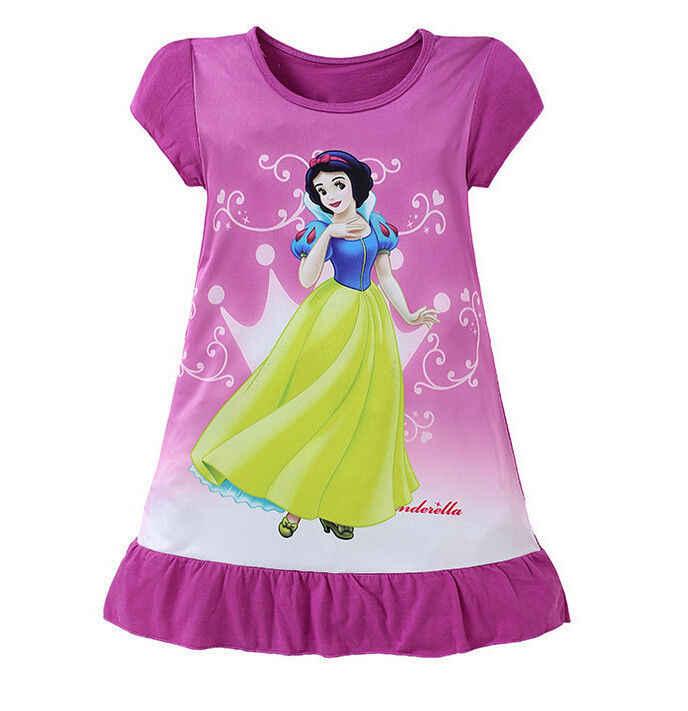 Novo 3-10y adorável crianças meninas crianças roupas de manga curta dos desenhos animados sereia princesa vestido de verão meninas vestido