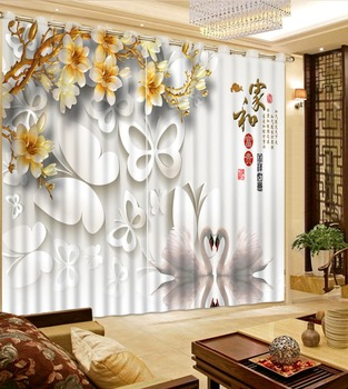 customize Window Blackout 3D Curtains Floral Living room Office Hotel Home height modern curtains