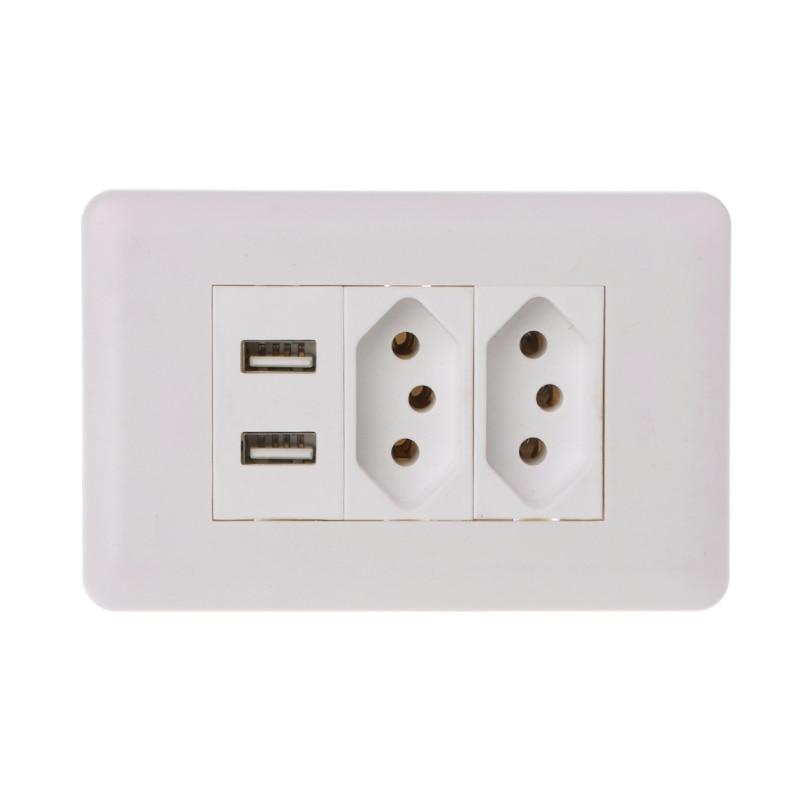 купить 15A WallDouble Standard Power Socket Adapter Dual Ports USB Charger Panel 5V 2.1A 'lirunzu по цене 395.19 рублей