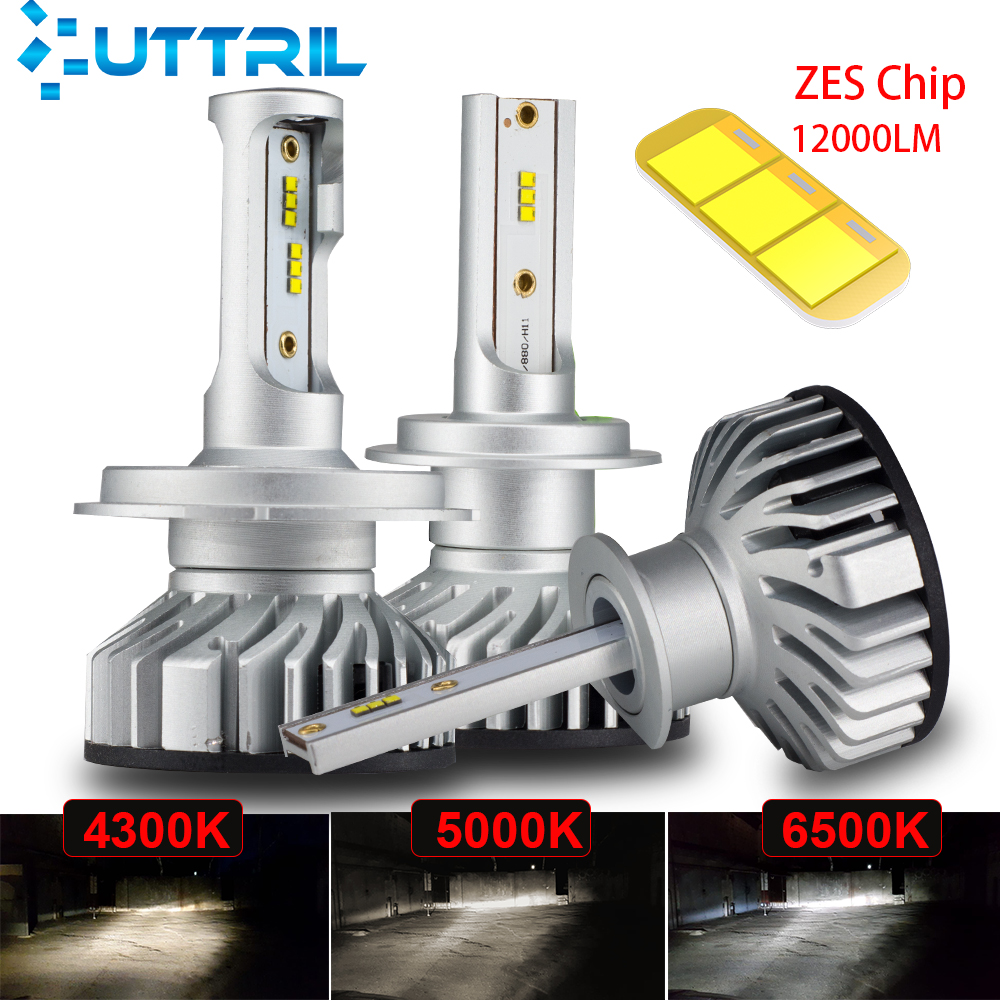 Uttril Canbus H4 H7 LED 4300K 5000K 6500K H1 H3 H8 H9 H11 9005 HB3 9006 HB4 Mini Car Headlight 60W 12000LM Auto Fog Light 12V(China)