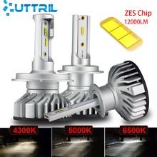 Uttril Canbus H4 H7 LED 4300K 5000K 6500K H1 H3 H8 H9 H11 9005 HB3 9006 HB4 мини Автомобильные фары 60 Вт 12000LM Авто Противо-Туманная фара 12V