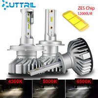 Uttril Canbus H4 H7 LED 4300K 5000K 6500K H1 H3 H8 H9 H11 9005 HB3 9006 HB4 Mini reflektor samochodowy 60W 12000LM auto światło przeciwmgielne 12V