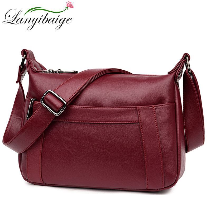 2019 Big Pocket Women Messenger Bags Luxury Handbags Women Bags Designer High Quality Leather Crossbody Shoulder Bags Sac A Main