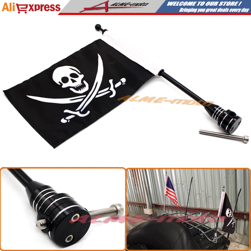 Motocycle CNC Aluminum Rear Side Mount Luggage Rack Vertical Flag Pole Pirate For Harley Touring Road King Glide&flht Black motorcycle rear side mount luggage rack vertical pirate flag pole for harley sportster xl883 xl1200 touring road king glide flht