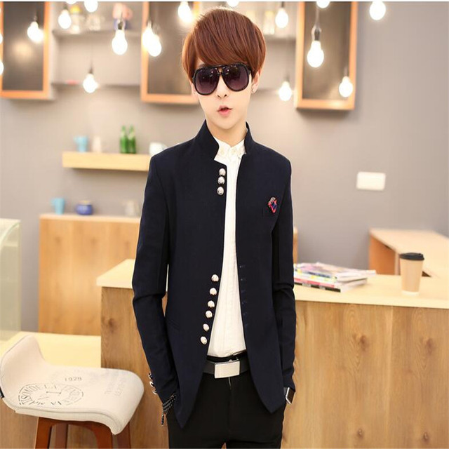 MEBOSYA 2016 Outono Inverno hot sale da moda de Nova popular Da Juventude estilo Coreano de lã dos homens gola lazer pequeno terno túnica Chinesa masculino