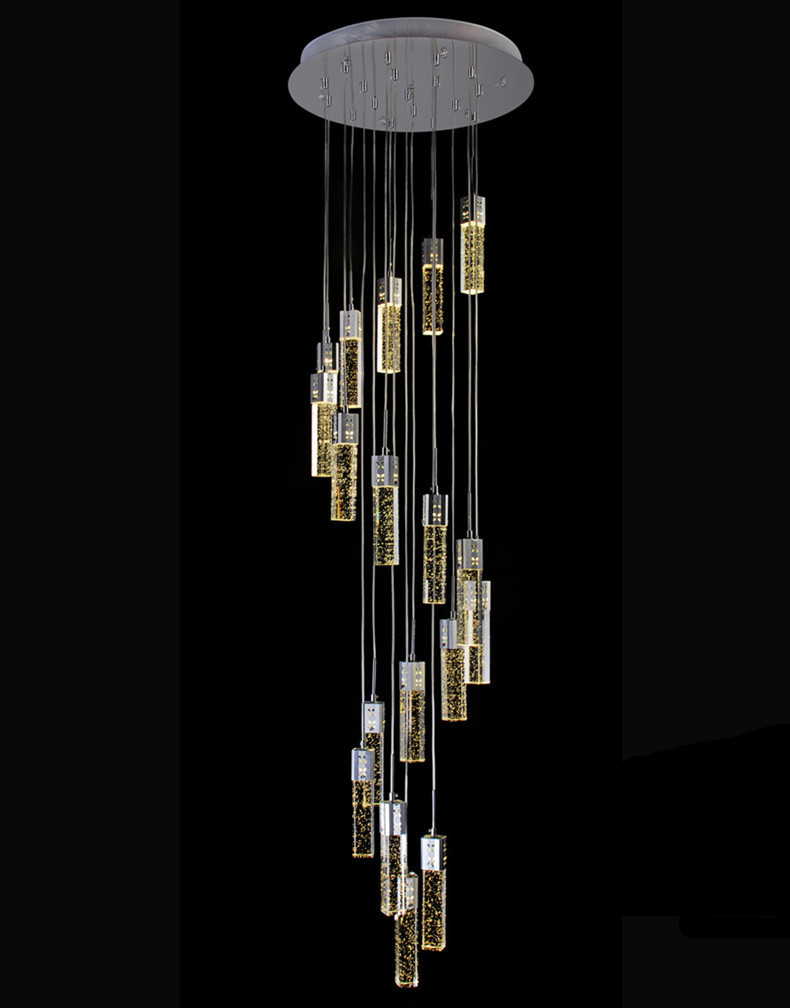 Show room modern led luminaria spiral crystal lighting for shopcase long stair lighting - Spectacular modern pendant lighting fixtures as center of attention ...