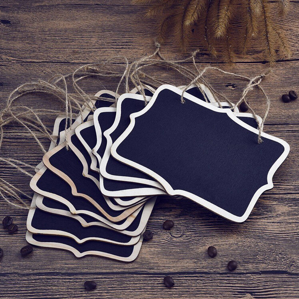 5PCS Mini Chalkboard Place Cards Hanging Blackboard Double Sided Chalkboard Wedding Party Table Number Place Tag Rectangular