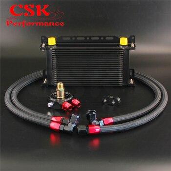 שחור 19 שורת קולר שמן w/סוגר + מסנן מתאם צינור ערכת עבור יפן רכב