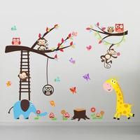 Tiere Cartoon Wandaufkleber Kinder Kindergarten Zimmer Vinilos Paredes Poster DIY Kinder Tapete Art Aufkleber Dekoration