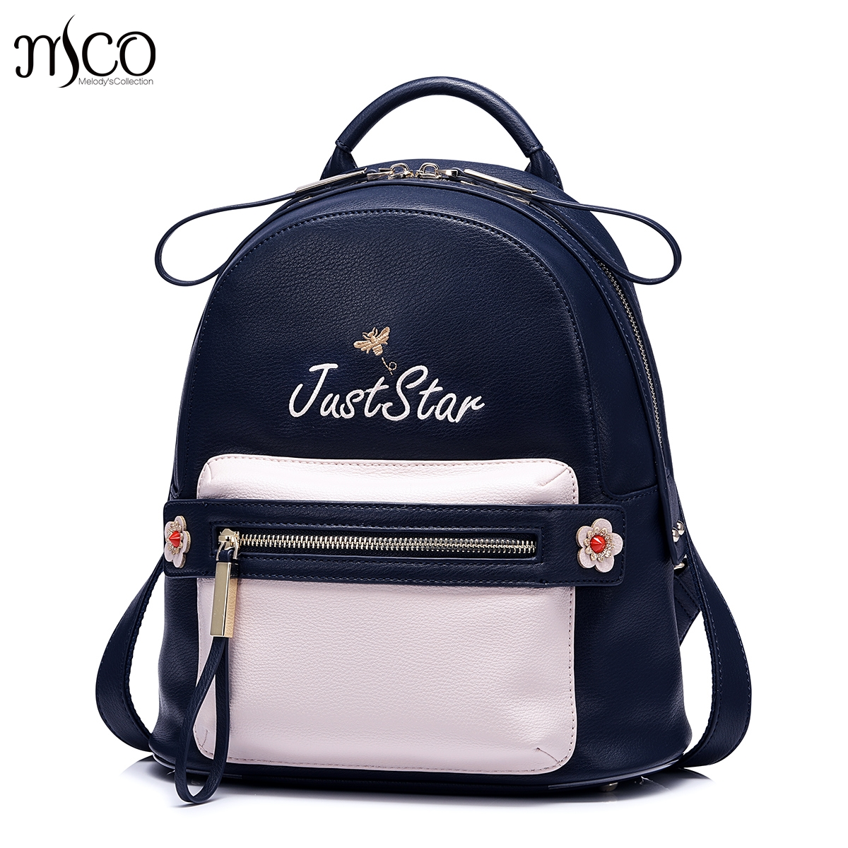 2017 Brand women leather flower backpacks female bags for girls cute appliques zipper fashion feminine backpack sac a dos femme