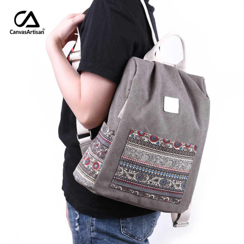 Canvasartisan Women s Canvas Backpack Retro Style Floral School Bookbag  Travel Small Backpacks Female Casual Daypack Bags-in Backpacks from Luggage    Bags ... 033f424dafe10
