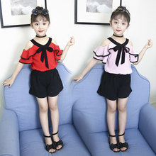 New Arrival Trendy Summer Kids Chiffon Clothes Set Sexy Girls Off-Shoulder T-shirt with Frills + Shorts Clothing