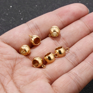 10pcs/lot Gold Tone Stainless Steel Bail Beads Drum Spacer with Loop Hanger Sliding Charm Holder for Jewelry Making Findings