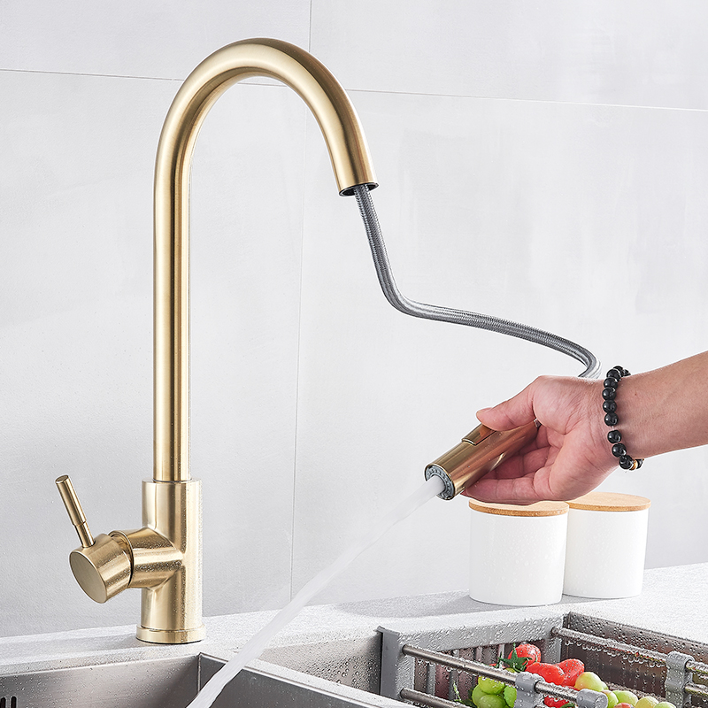 Quyanre Brushed Gold Kitchen Faucet Pull Out Kitchen Sink Water Tap Single Handle Mixer Tap 360 Rotation Kitchen Shower Faucet 4