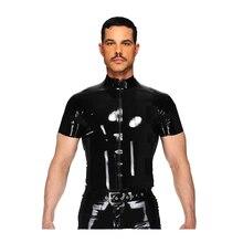 Сексуальное женское белье Европа Сексуальная ПВХ латекса Мужская футболка эротические майка для геев подтяжки Фетиш L969