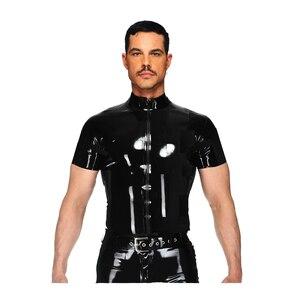 Seksowna bielizna europa seksowna guma pvc lateksowa męska koszulka erotyczna gejowska kamizelka szelki fetysz L969