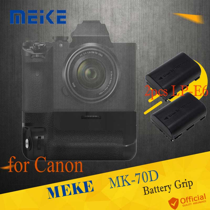 Meike MK-70D Vertical Battery Grip Holder with 2x LP-E6 Battery Control For Canon EOS 70D 80D DSLR Camera as BG-E14 Accessories camera battery grip pixel bg e20 for canon eos 5d mark iv dslr cameras batteries e20 lp e6 lp e6n replacement for canon bg e20