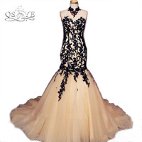2017 New Arrival Champagne Long Mermaid Prom Dresses With Black Lace Sexy Sweetheart Backless Court Train